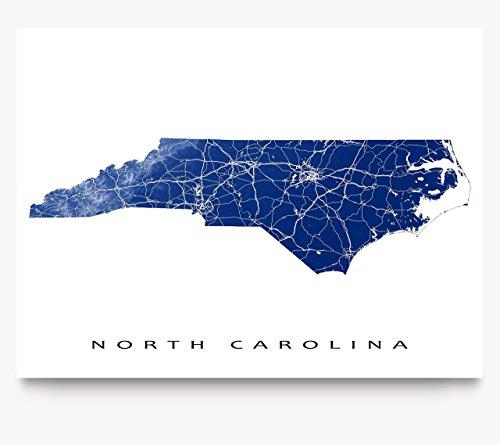 North Carolina Map Art Print, Nc State Outline, USA Wall