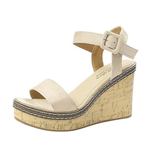 Women's Adjustable Ankle Strap Wedge Comfort Sandal Shoes Espadrille Platform Buckle Ankle Strap Wedges Beige