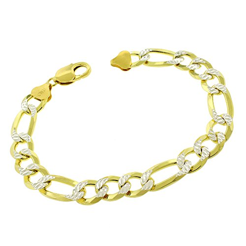 Elite Anti-Tarnish - 10.5mm Figaro Link - Patented ITProLux - 925 Sterling Silver - Diamond-Cut Pave - 14K Yellow Gold - Solid Bracelet Chain - Made In Italy - 9