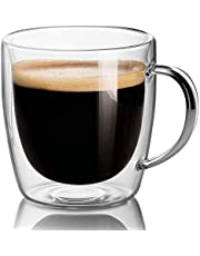 Set Of 2 Mugs - 14oz Large Coffee Mug Double Wall Glass, Clear Cups, Dishwasher. Microwave, freezer with NO RISK.