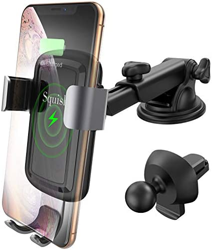 Squish Qi Wireless Car Charger Mount, Car Phone Holder for Dashboard Windshield Air Vent, Auto-Clamping Wireless Fast Charger Mount Compatible with Samsung S10 S9 S9 S8 S8 Note9 Note8 and iPhone