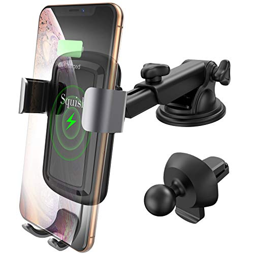 Squish Qi Wireless Car Charger Mount, Car Phone Holder for Dashboard Windshield Air Vent, Auto-Clamping Wireless Fast Charger Mount Compatible with Samsung S10/S9/S9+/S8/S8+/Note9/Note8 and iPhone