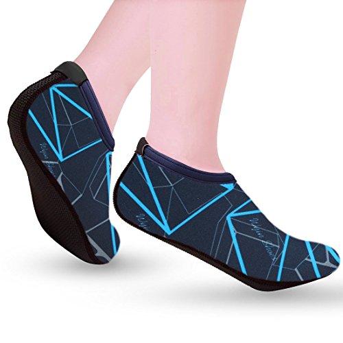 Bigwanbig Super Light And Thin Aerobic Calzado Deportivo Antideslizante De Secado Rápido Calzado Plano Descalzo Gimnasio Yoga Caminata Natación Buceo Pesca Bolera Zapatos De Playa Raya Azul