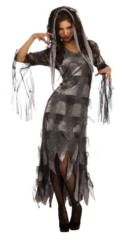 Rubie's Costume Zombie Mistress Dress and Headpiece, Gray, Medium - Mistress Dress Costume