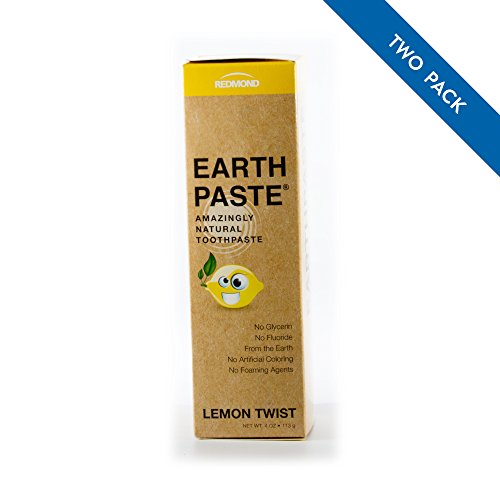 Redmond Earthpaste - Natural Non-Flouride Toothpaste, LemonTwist, 4 Ounce Tube (2 Pack) (Sodium Lauryl Sulfate Coconut)