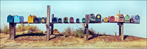 12 x 36 inch panoramic photograph of colorful rural country roadside metal mailboxes Additional Mailboxes