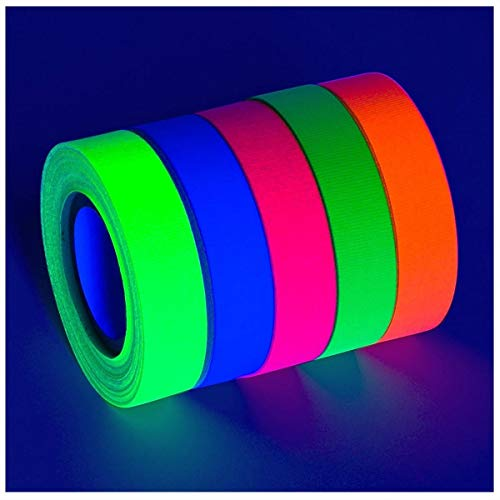 .5 in x 60 ft 5-Pack UV Blacklight Reactive Fluorescent/Neon Gaffer Tape Matte Finish (Best -