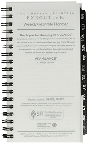 "AT-A-GLANCE Weekly / Monthly Planner Refill, January 2018 - December 2018, 3-1/4"" x 6-1/4"", Executive (7090710)"