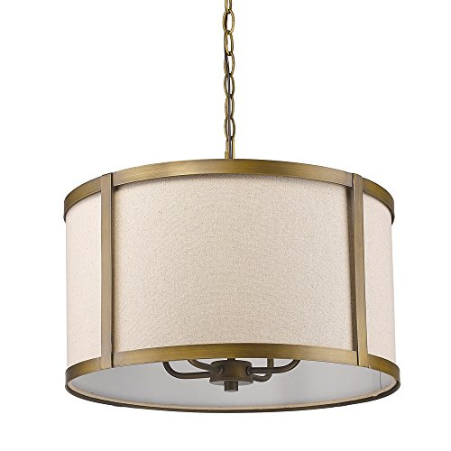 Acclaim Lighting IN11140RB Jessica Indoor 4-Light Pendant with Fabric Shade, Raw Brass