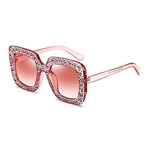 Sol Bling Lady Lady'S Protección Conducción de Gafas para de para Peggy Gafas UV Crystal con Gafas Sunglasses Sol cuadradas Borde Gu Personalidad de de Pelota Oversized la Mujer Bling Sol Rosado Cool qwtt1TR4x