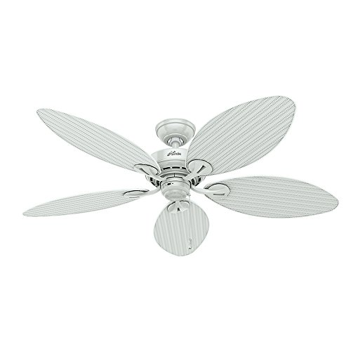 (Hunter 54097 Bayview 54-Inch ETL Damp Listed Ceiling Fan with Five white Wicker/White Palm Leaf Plastic Blades,)