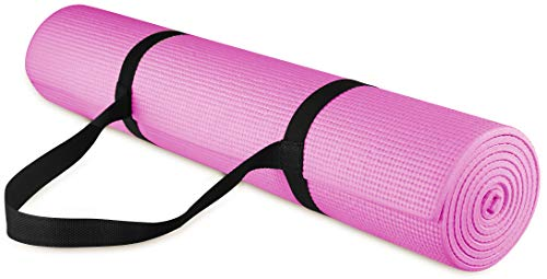 """BalanceFrom GoYoga All Purpose High Density Non-Slip Exercise Yoga Mat with Carrying Strap, 1/4"""", Pink"""