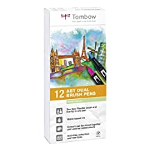 Tombow Dual Brush Pens Pastels - Pack of 12 Colors (ABT-12P-2)