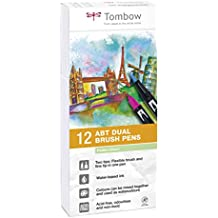 Tombow ABT Dual Brush Pen with two tips, Pastel colour, 12 pieces (ABT-12P-2)