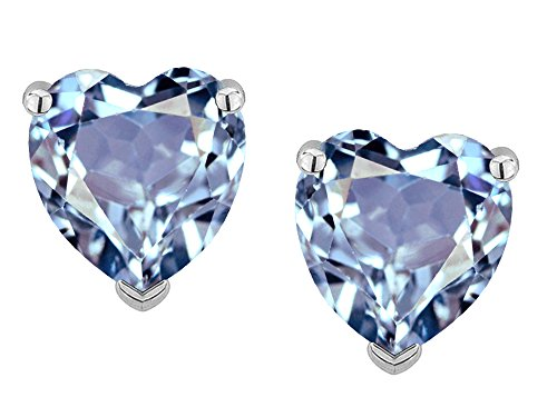Star K Heart Shape 6mm Simulated Aquamarine Earrings Studs 14 kt White Gold - White Gold Name Earrings