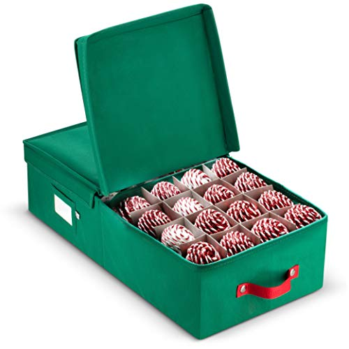 - ZOBER Underbed Christmas Ornament Storage Box with Lide - Stores up to 64 Standard Christmas Ornaments, and Xmas Holiday Accessories Storage Container with Dividers
