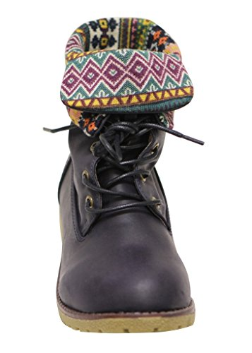 Bella Marie New york-28 Womens round toe rubber sole lace up tribal lining PU mid-calf boots Navy 1W0kLo