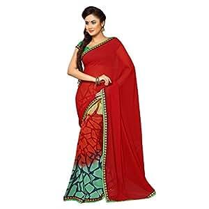 Shilp-Kala Faux Georgette Printed Red Colored Sarees SKSU2123