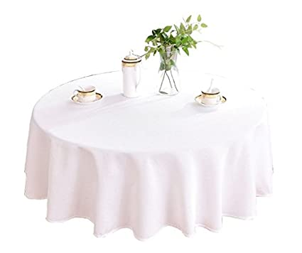 HIGHFLY Linen Round Tablecloth 60 Inch Waterproof And Stain Resistant  Natural Table Cloth For Dining Room