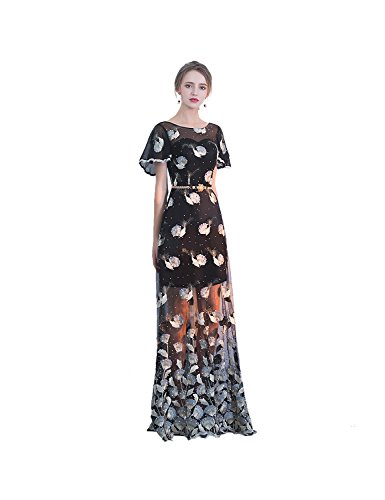 Mesh Embroidered Cape Long Dress Formal Evening-Black (M) ()