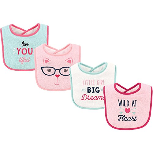 Luvable Friends Baby Drooler Bib, 4 Pack, Wild At Heart, One Size