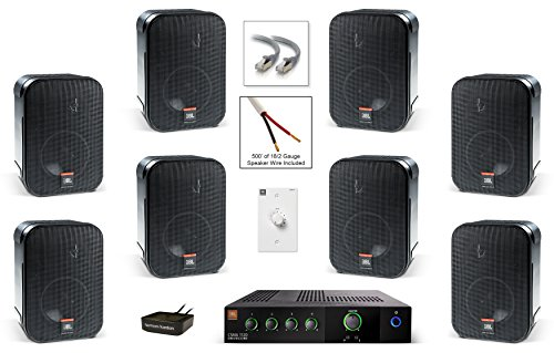 JBL CSS-1S/T Compact Two-Way Surface-Mount Loudspeaker Bundle with JBL CSMA 1120 Mixer Amplifier, Harman Kardon BTA 10 Bluetooth Receiver and Accessories - Retail Sound System (8 Speaker, Black) - Commercial Loudspeakers