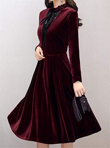 Dress Velvet Color Red Long Womens Wine Elegant Mid Sleeve Line Solid Splice Cromoncent Long A Falbala Lace qI6aTqX