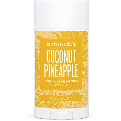 Schmidt's Natural Deodorant - Coconut Pineapple 3.25 Oz Sensitive Skin Stick; Aluminum-Free Odor Protection & Wetness Relief