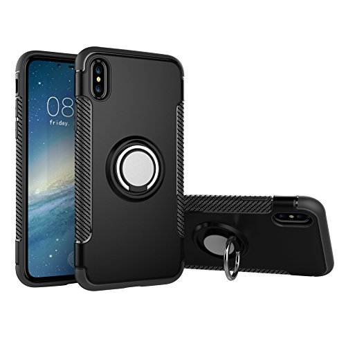 iPhone X Case Apple (Matte Black), High Impact Drop Protection, 360° Swivel Ring Holder Kick Stand, Shockproof TPU Non-Slip Rubber, Thin Flexible Profile, Elevated Lens for Best Protection