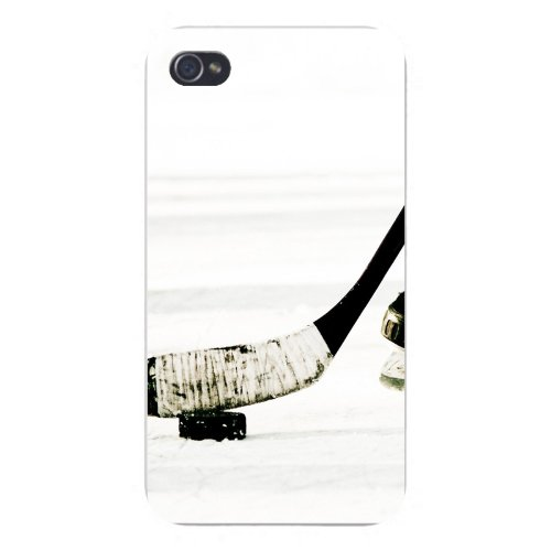 Apple Iphone Custom Case 4 4s Plastic Snap on - Hockey Stick Taped w/ Puck on Ice