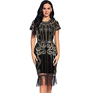 Flapper Girl Women's Scoop-Neck Graphic Short-Sleeve Knee Fitted Dress, Glam Gold, Large