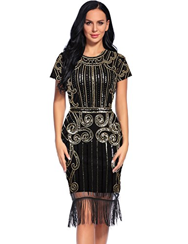 Flapper Girl Women's 1920s Vintage Inspired Sequin Embellished Fringe Gatsby Flapper Dress (L, Glam Gold) -