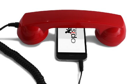 Price comparison product image Opis Technology OPIS 60s MICRO: retro handset/vintage handset/retro receiver/mobile handset for iPhone, Galaxy, Huawei and all modern smartphones (red)