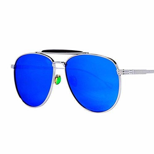 mujer reflectante XIAOGEGE de personalizadas de azul de Gafas sol grande metal cara sol y El Rosa gafas qwpwfFnR