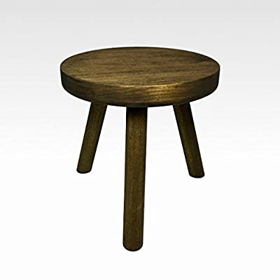 Small Wood Three Legged Stool, Modern Plant Stand in Walnut by Candlewood Furniture, Wooden, Tea Table, Kids Chair, Decorative