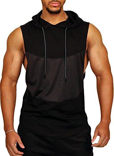 PAIZH Mens Workout Sleeveless Shirt See Through Pattern Stringer Hooded Tank Top
