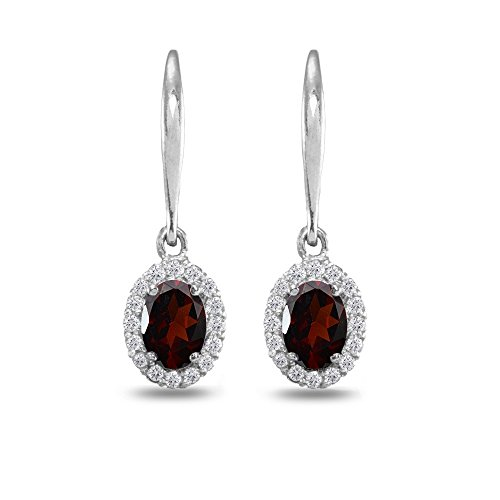Sterling Silver Garnet & White Topaz Dainty Oval Dangle Halo Leverback Earrings ()
