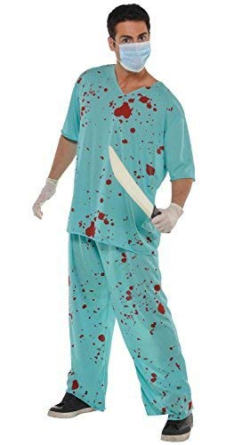Mens Bloody Blood Stained Scrubs Surgeon Doctor Hospital Worker Occupation Scary Halloween Fancy Dress Costume Outfit M-L]()