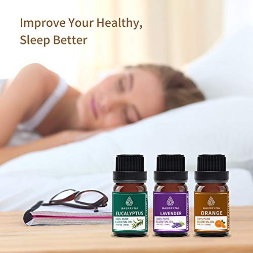 BAERRYNA Sleep Essential Oil Set - Aromatherapy Essential Oils Single for Stress Relief Mood Support - 100% Pure Set of 6