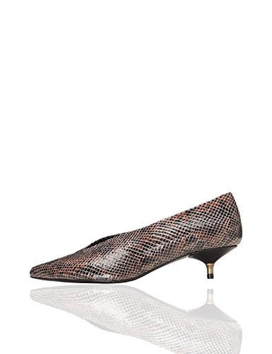 Heels FIND Mary Brown Back Women's Closed Snake 7wIzqRwv