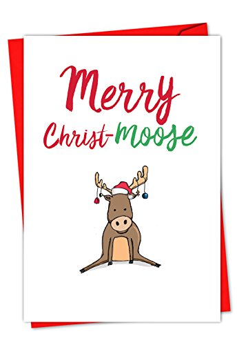 12 'It Was the Pun Before Christmas - Moose' Christmas Cards, Adorable Moose Holiday Notes, Funny Pun Christmas Cards, Cute Animal-Themed Holiday Cards, Sweet Christmas Stationery C5550DXSG-B12]()
