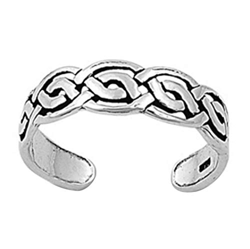 Celtic Ring 14k Toe (Ringjewels Celtic Braid Adjustable Toe Ring for Women's in 14K White Gold Plated .925 Sterling Silver)