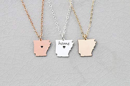 (Arkansas State Necklace - IBD - Personalize with Name or Coordinates – Choose Chain Length – Pendant Size Options - Ships in 1 Business Day - 935 Sterling Silver 14K Rose Gold Filled Charm)