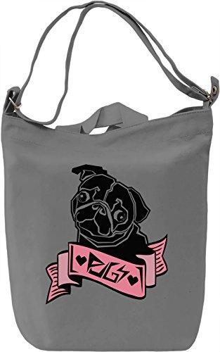 Love Pugs Borsa Giornaliera Canvas Canvas Day Bag| 100% Premium Cotton Canvas| DTG Printing|