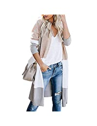 Puimentiua Womens Boho Color Block Striped Cardigan Draped Kimono Cardigan Long Open Front Lightweight Knit Sweaters.