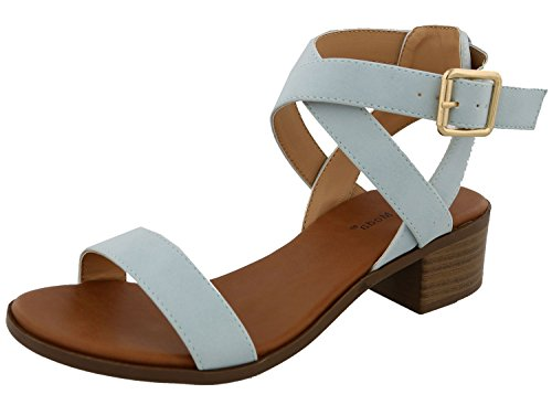 TOP Moda Women's Vision-75 Ankle Strap Open Toe Heeled Sandal Light Blue 6