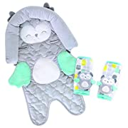 Carter's Infant Head Support for Carseats & Stollers with Plush Strap Covers Owl, Grey/Blue/Yellow