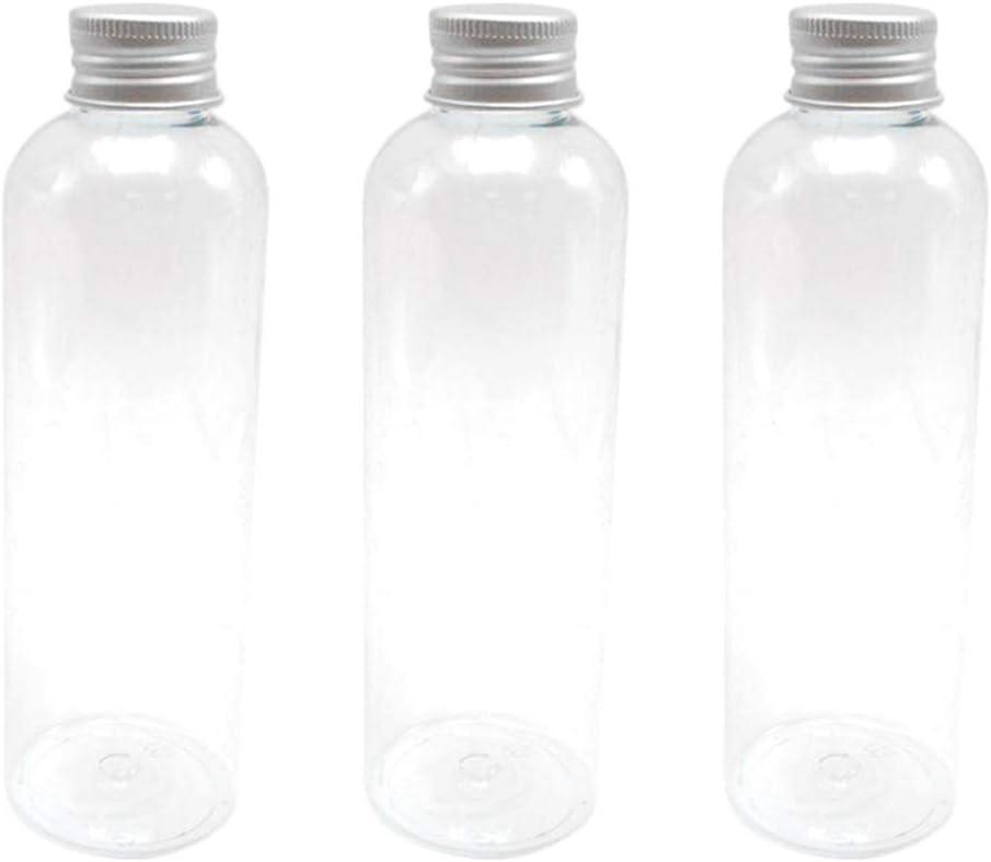 UPKOCH 6 Piezas de Botellas vacías de plástico Transparente Botellas de Jugo vacías Reutilizables con Tapas de Aluminio para Bebidas de Jugo de Leche Beber 200 ml