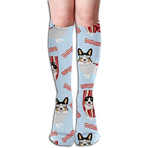 Tri Colored Corgi Corgis Love Bacon Design Cute Dog Costume Halloween Men's Women's Cotton Crew Athletic Sock Running Socks Soccer Socks 19.7 -