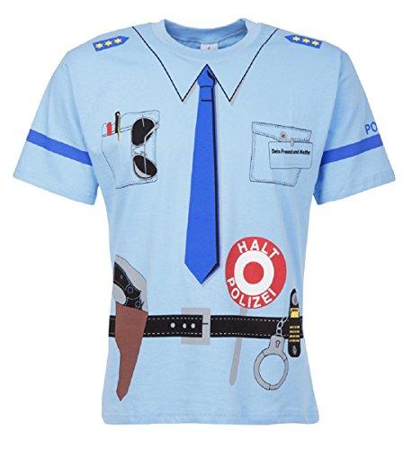 Kinder Uniform T-shirt Polizei blau (110/116)
